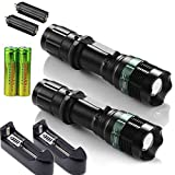Ultra Bright 800 Lumen Tactical LED Flashlight Torch Zoomable 18650 Battery+Charger Set of 2