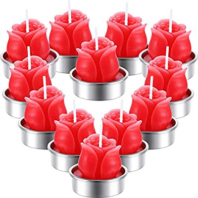 12 Pieces Rose Tealight Candles Handmade Delicate Rose Flower Candles for Valentine's Day Party Wedding Spa Home Decoration Gifts (Style E)