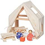 (US) MiO Cabin + 2 Bean Bag People Peg Dolls Imaginative Montessori Style STEM Learning Wooden Building Playset for Boys and Girls 3 Years + Up by Manhattan Toy