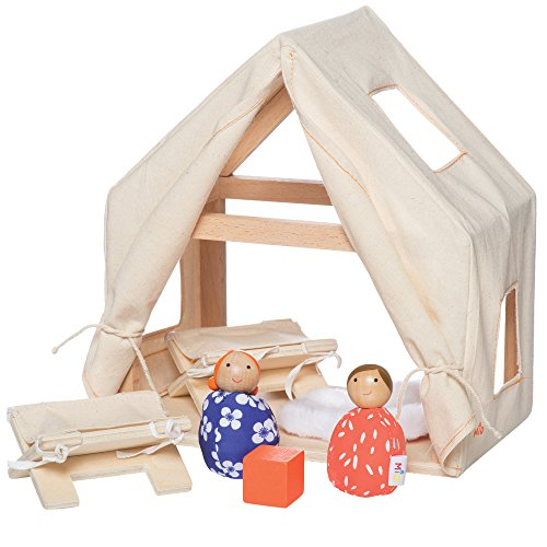 MiO Cabin + 2 Bean Bag People Peg Dolls Imaginative Montessori Style STEM Learning Wooden Building Playset for Boys and Girls 3 Years + Up by Manhattan - Manhattan Wood Dark
