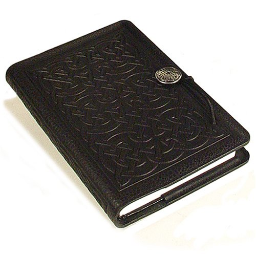 Celtic Knot American-Made Embossed Leather Writing Journal Cover in Black, 6 x 9-inch with Refillable Hard Bound Insert ()