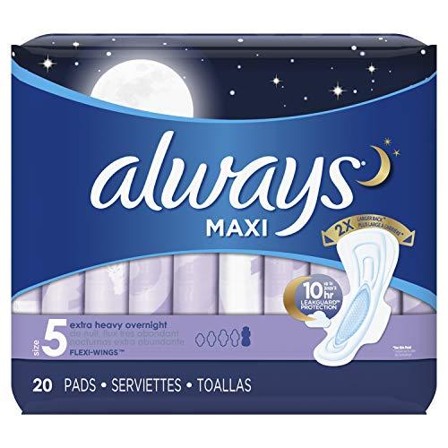 Always Maxi Overnight Feminine Pads with Wings, Super Absorbency, Unscented, 20 Count - Pack of 2 (40 Total Count) (Always Radiant Infinity Overnight Pads With Flexi Wings)