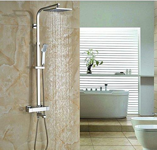 GOWE Bath Rainfall Shower Set Faucet Thermostatic Shower Chrome Polish Exposed 1