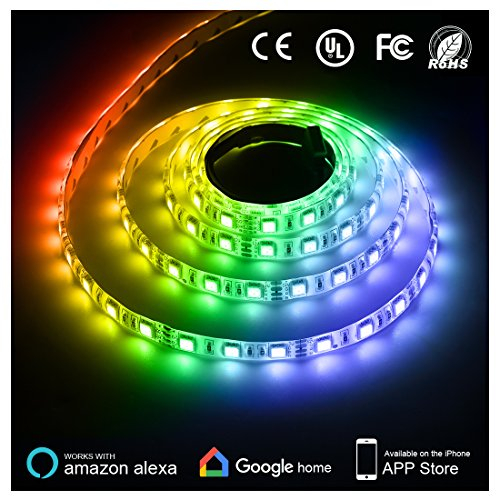 Texsens LED Light Strip, Compatible with Alexa, 300 Units 5050 SMD LEDs Tape Lighting, 16.4ft 5m Smart Phone Controlled LightStrip Kit Flexible RGB Rope Lights