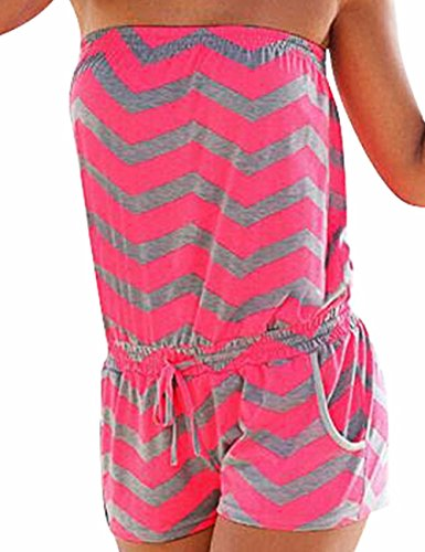 Sexyshine Women's Strapless Off Shoulder Printed Beachwear Short Rompers Jumpsuits Rosegrey,XL