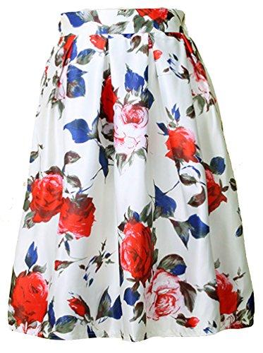 floral Helan femmes ebouriffer Blanc jupe cru haute Fleur Base Taille de Avec 1Yq7c6rYSy