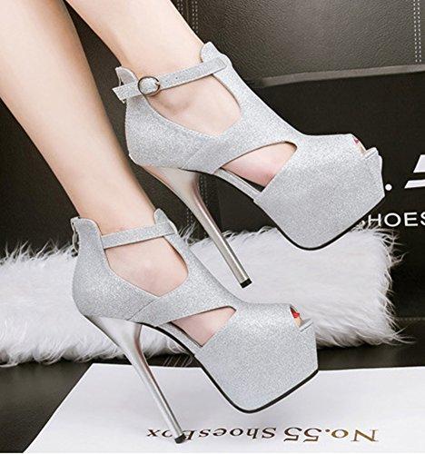 Aisun Peep High Stiletto Heel Court Dressy Buckled Up Silver Shoes Zip Platform Women's Toe Sexy pxr1aqp