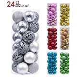 Valery Madelyn 24ct 60mm Frozen Winter Silver White Shatterproof Christmas Ball Ornaments Decoration, Themed with Tree Skirt(Not Included)