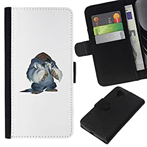 NEECELL GIFT forCITY // Billetera de cuero Caso Cubierta de protección Carcasa / Leather Wallet Case for LG Nexus 5 D820 D821 // Monster Yeti