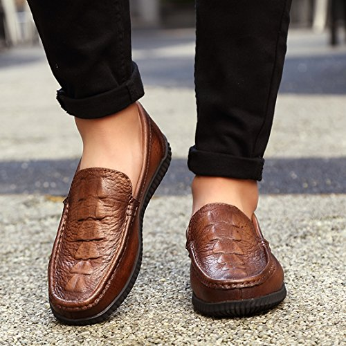 TDA Mens Wonderful Crocodile Print Leather Driving Loafers Boat Shoes Brown tOucbH