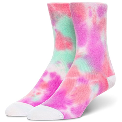 (Tie Dye Crew Socks Great Novelty Gift Idea Super Absorbent Material Shoe Women's Size 4-10 & Men's Size 4-9 1 Pair)