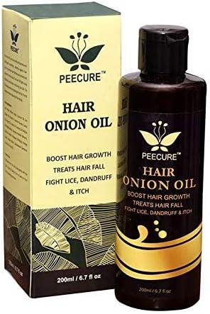 Peecure Onion Hair Growth Oil Tratamiento para el cabello dañado, caída del cabello con aceite de argán, aceite de jojoba, bhringraj, manteca de karité (200 ml): Amazon.es: Belleza