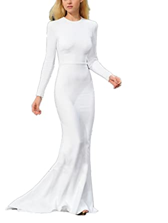 Amazon.com: Rong store Rongstore Womens Long Formal Evening Dress Prom Gowns White US12: Clothing