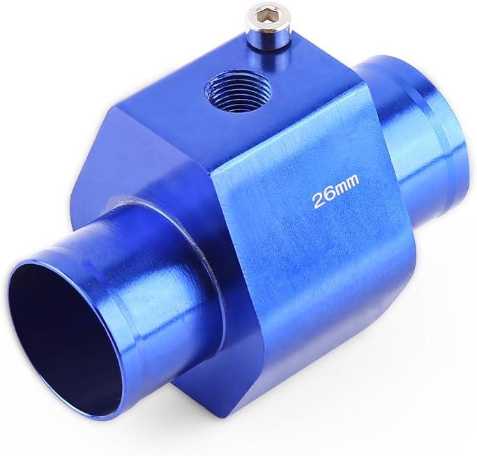 Keenso Universal Aluminium Wassertemperatur Verbindungsrohr Sensor Messgerät Heizkörper Schlauch Adapter 26mm Auto