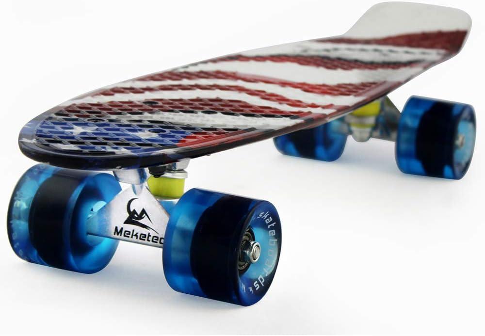 Meketec Skateboards Complete 22 Inch Mini Cruiser Retro Skateboard for Kids Boys Youths Beginners / US