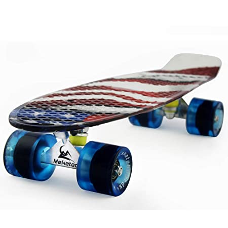 MEKETEC Skateboards Kids Mini 22 inch Cruiser Beginner Skateboard Boys Board for Girl Youth Children Toddler Teenagers Adults Patinetas Dog (American Flag)