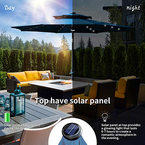Wonlink 9ft Patio Umbrella,32 Solar LED Lights,Double Top Outdoor Patio Market Umbrella with Crank Lift,Unique Central Hug Light ()