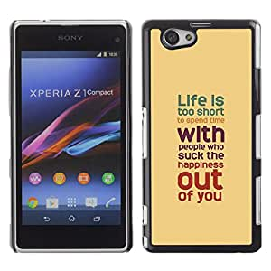 iBinBang / Funda Carcasa Cover Skin Case - La vida es demasiado corta melocotón del trullo rojo púrpura - Sony Xperia Z1 Compact D5503