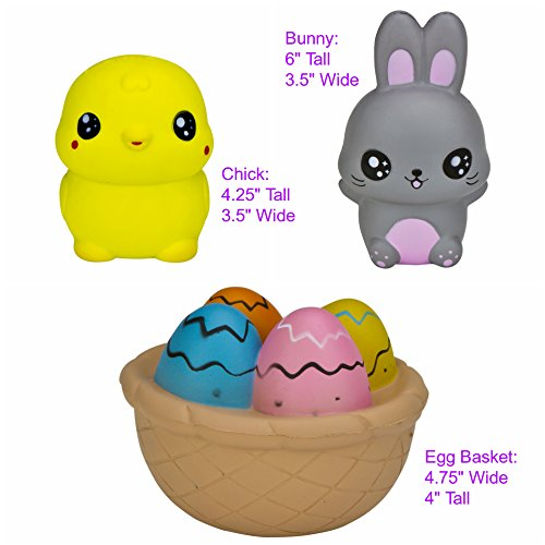 Slow-Rising-EASTER-BUNNY-FRIENDS-JUMBO-SQUISHIES-PACK-in-GIFT-WORTHY-BOX-Bunny-Chick-Easter-Basket-Kawaii-Soft-Squishy-Toys-BONUS-Stickers-Come-With-the-Squishys