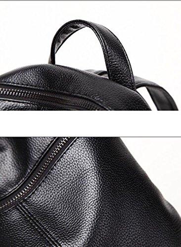 Dos ZHXUANXUAN épaule Sac Bandoulière PU Pour Zipper Black Sac Scolaires à Les à Casual Imperméable Fournitures Femmes qrrfxwC4E