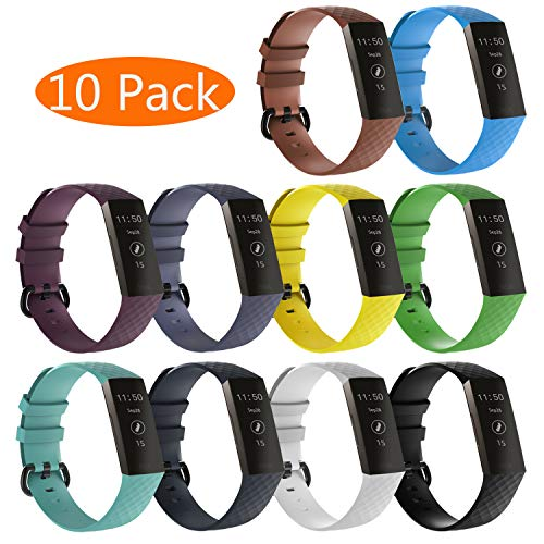 KingAcc Compatible Fitbit Charge 3 Bands, Soft Silicone Replacement Band for Fitbit Charge 3, Charge 3 SE, with Metal Buckle Wristband Strap Women Men (10-Pack, 10 Colors, Large)