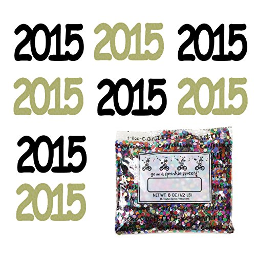 Confetti Year 2015 Black, Gold Combo - One Pound Bag (16 oz) FREE SHIPPING --- - Jimmy Bag Black