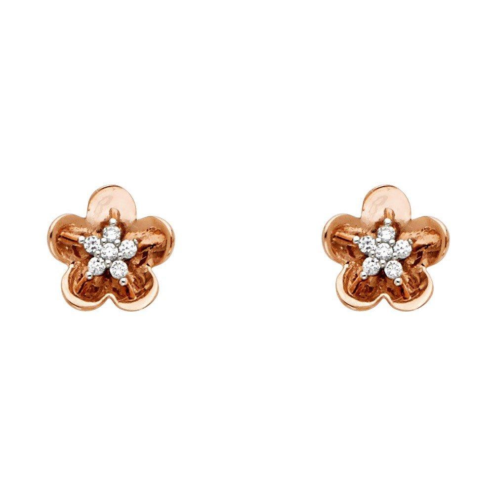 14k Two Tone Gold Cubic Zirconia Hawaiian Flower Stud Earrings