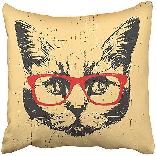 Throw Pillow Cover Decorative Polyester 18x18 Inches Black Face Portrait of British Shorthair Cat with Glasses Animal Cushion Pillow Case Square Two Sides Print for Home by Starogs