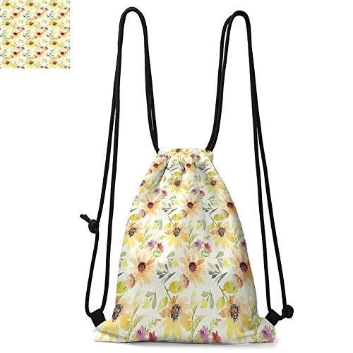 Watercolor Flower Drawstring backpack series Pastel Colored Summer Sunflowers with Pale Leaves Nature Style Convenient choice for daily activities W17.3 x L13.4 Inch Orange Cream Green