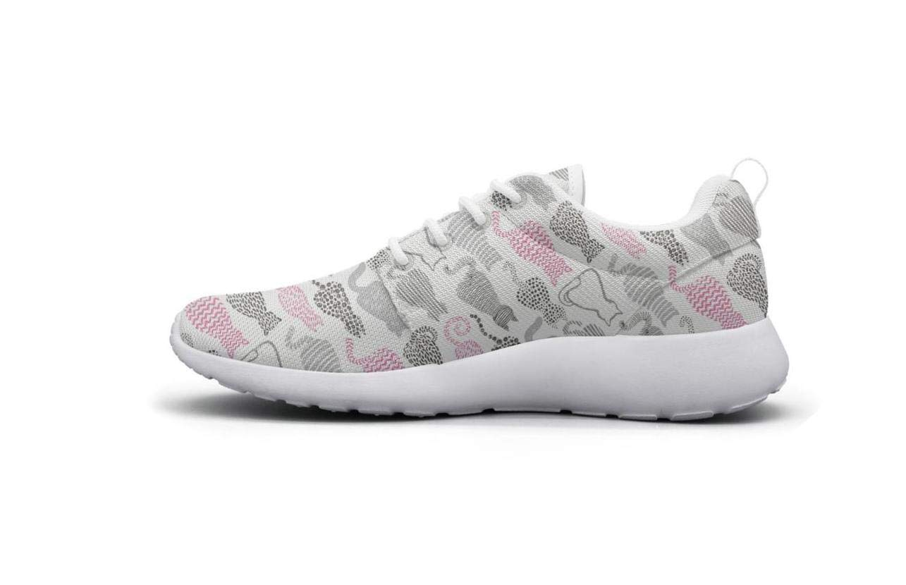ipdterty Wear-Resistant Climbing Sneaker Textured Cats White Background Womens Custom Running Shoes