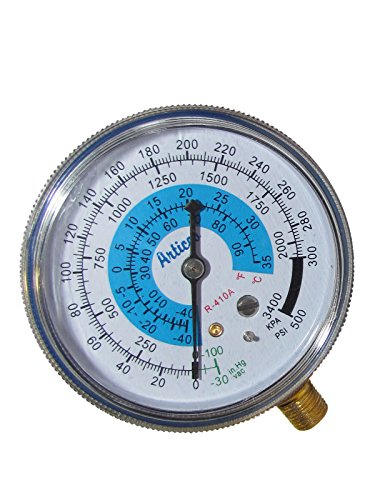 LOW PRESSURE GAUGE FOR REFRIGERANT R-410a-FAHRENHEIT AND CELSIUS SCALE.