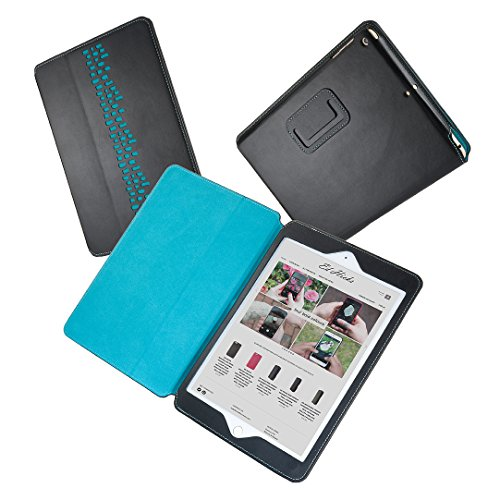 The Rise iPad Air 1 & 2 Designer Leather Stand Case in Black with Turquoise Blue Wall Design & Lining