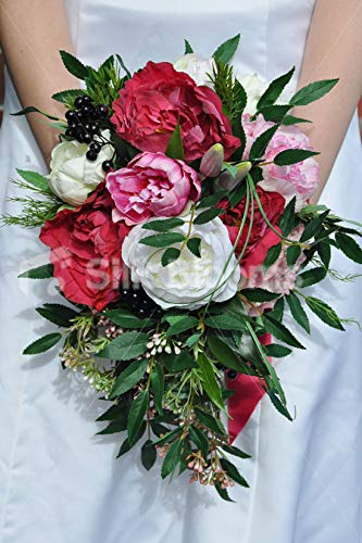 Silk Blooms Ltd 人工ブライダルブーケ ブライダルブーケ ブライダルブーケ 葉と草付き B07H8HZ8GV