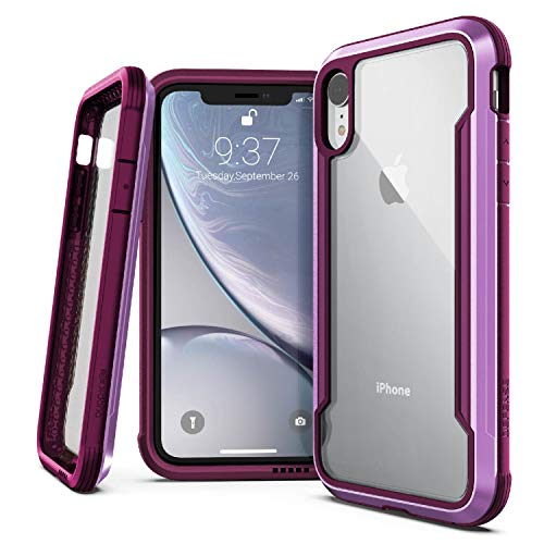 X-Doria Defense Shield Series, iPhone XR Case - Military Grade Drop Tested, Anodized Aluminum, TPU, and Polycarbonate Protective Case for Apple iPhone XR, 6.1 Inch LCD Screen (Purple)
