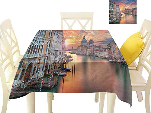 WilliamsDecor Picnic Cloth European,Grand Canal in Venice Summer Table Cloths W 36