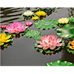 hilingo-7Pcs-Artificial-Floating-Foam-Lotus-Flower-Pond-Decor-Water-Lily-Pink