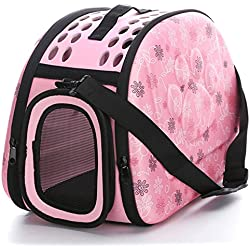EBRICKON Pet Dog Bag Cat Carrier Pet Sleeping Portable Pet Carrier Foldable Bag Travel Puppy Carrying Backpacks Cat Bag (Small,Pink)