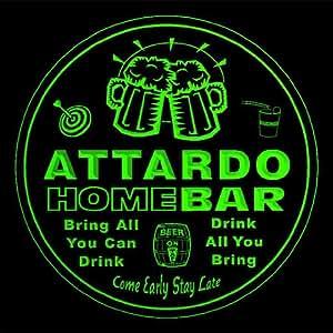 4x ccq01569-g ATTARDO Family Name Home Bar Pub Beer Club Gift 3D Engraved Coasters