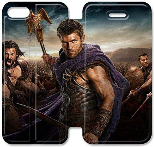 Flip étui en cuir PU Stand pour Coque iPhone 5 5S, bricolage 5 5S étui de téléphone cellulaire Spartacus étoile Liam Mcintyre large Je L5W5CN Concevoir un cas de l'Coque iPhone en cuir
