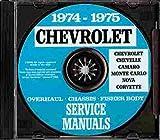 COMPLETE 1974 1975 CHEVROLET FACTORY REPAIR SHOP & SERVICE MANUAL FOR: Bel Air, Impala, Caprice Classic, Malibu, Malibu Classic, Laguna, S-3, Chevelle, El Camino, Monte Carlo, S, Camaro, LT, Z/28, Nova, Corvette, and station wagon CHEVY 74 75