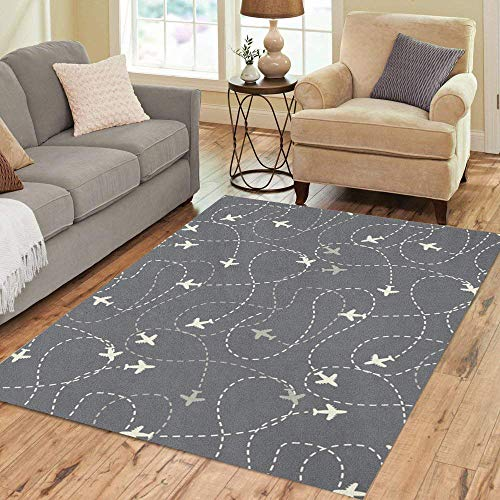 Pinbeam Area Rug Travel Around The World Airplane Routes Endless Pattern Home Decor Floor Rug 5' x 7' ()