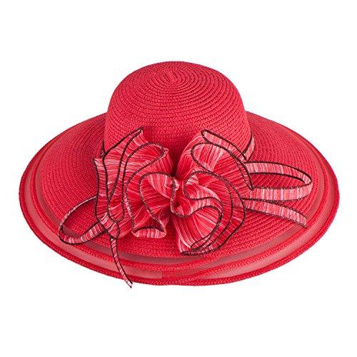 - Women Dress Church Wedding Kentucky Derby Wide Brim Straw Summer Beach Hat A115 (Red)