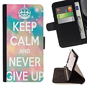 Jordan Colourful Shop -Keep Calm And Never Give Up -- Leather Case Absorciš®n cubierta de la caja de alto impacto FOR Apple iPhone 6 6S 4.7 ---