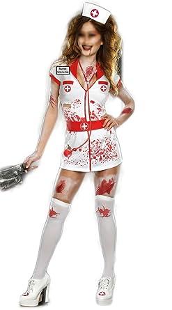 Lustre Disfraces de enfermera zombi disfraz accesorio con medias ...