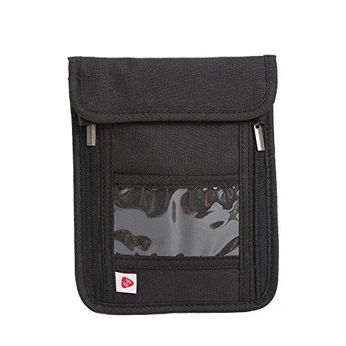 RFID anti-theft folder,travel passport bag, multifunctional hanging neck bag black by CutePaw (Image #7)