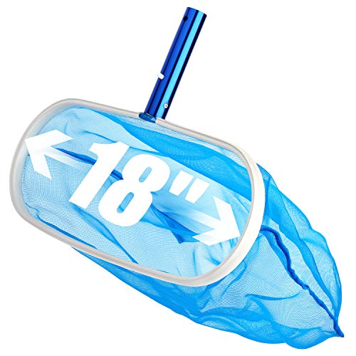 - Sabuy 18 Inch Heavy Duty Deep-Bag Swimming Pool Leaf Net Skimmer Rake with Nylon Medium Fine Mesh for Cleaning Swimming Pools, Hot Tubs, Spas and Fountains, Blue