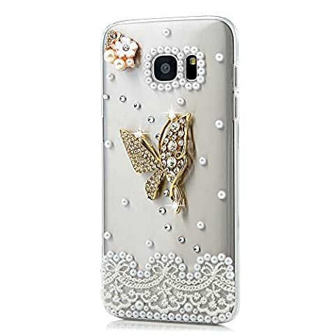S7 Edge Case,Galaxy S7 Edge Case - Mavis's Diary 3D Handmade Bling Crystal Golden Butterfly with Sparkly Diamonds Gems Elegant Pearls Flower Lace Design Clear Hard PC Cover for Samsung Galaxy S7 - Juicy Full Diamond