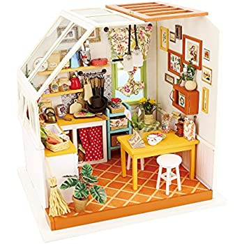 Amazon com: ROBOTIME Dollhouse Kit Miniature DIY Library