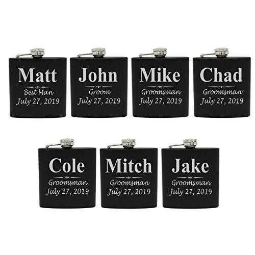 Set of 1, 2, 3, 4, 5, 6, 7, 8 Personalized Black Flask - Custom Engraved Groomsmen, Best Man, Groom Gift Flasks - 3 Lines Style (7)]()
