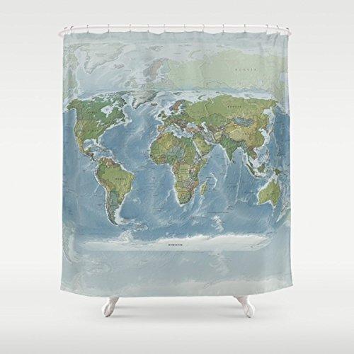 Modern World Map Shower Curtain - Earth Tones